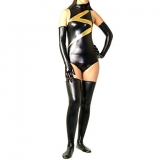 Костюмы - Зентай Black Mixed Color Shiny Metallic Women Spandex Leotard