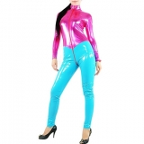 Костюмы - Зентай Fuschia Spandex and Cyan Women PVC Catsuit
