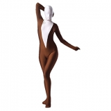 Костюмы - Зентай Coffee and White Lycra Spandex Full Body Zentai